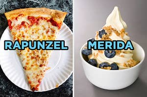 """On the left, a piece of cheese pizza on a plate labeled """"Rapunzel,"""" and on the right, some frozen yogurt in a bowl topped with granola and blueberries labeled """"Merida"""""""