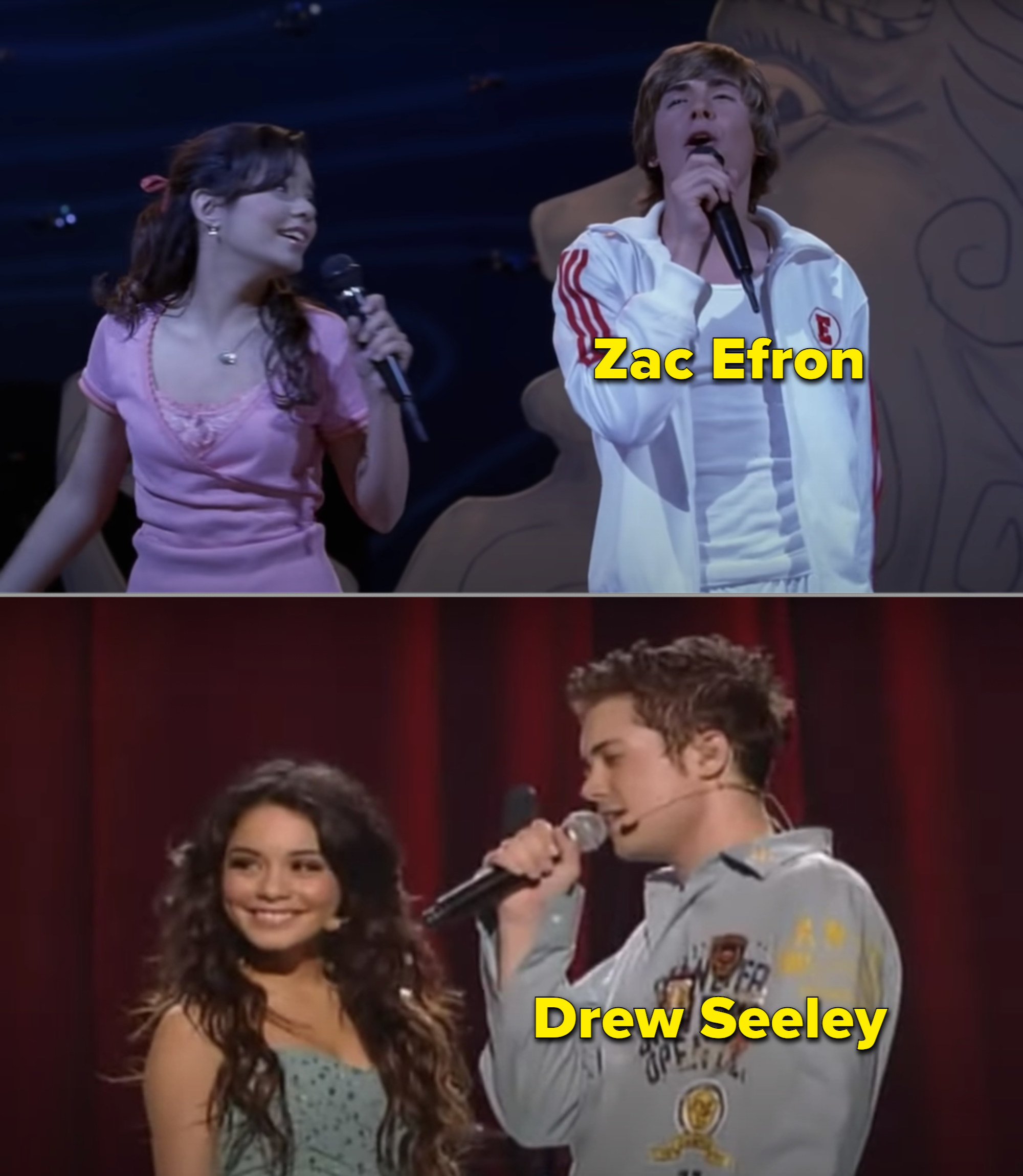 Zac Efron and Drew Seeley singing separately with Vanessa Hudgens