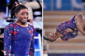 simone biles looking at herself flipping