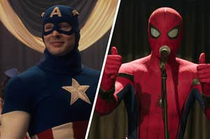 Steve Rogers stands on stage in his first Captain America costume and Spider-Man stands on stage with two thumbs up