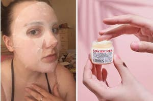 on left, reviewer wears face mask on face. on right, hand scoops up lip scrub from jar