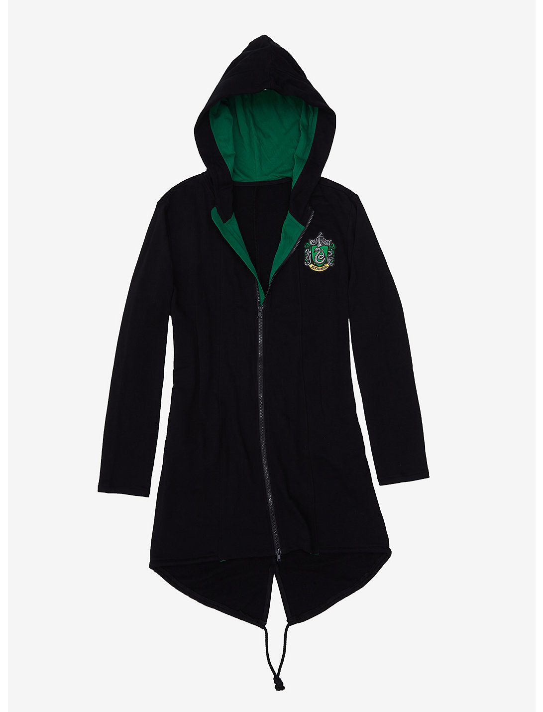 The black zip-up hoodie, which has a green lining