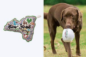 left image: new york plush toy, right image: central perk dog toy