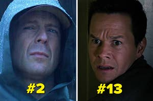 Bruce Willis looking tough and Mark Wahlberg looking scared