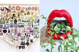 left image: enamel pin pennant, right image: ceramic lips planter