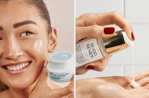 A model with a water gel cream / A person dispensing a serum
