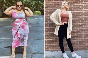 on left, reviewer wears pink tie-dye top and bottom set. on right, reviewer wears lightweight white cardigan with a crop top and leggings