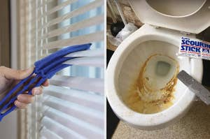on left, blue blinds dusters sweeping away dust from white blinds. on right, gray pumice stone on top of toilet bowl with rust stains inside