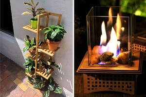 to the left: a plant stand, to the right: a table top fire pit