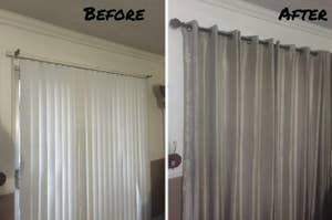 A customer review before and after photo showing their window with vertical blinds and then with curtains