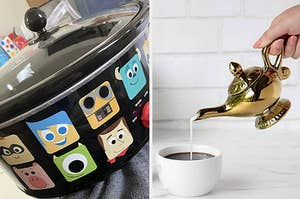 to the left: a pixar crock pot, to the right: an aladdin magic lamp filled with creamer