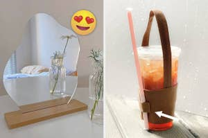 A split thumbnail of a mirror and a cup holder