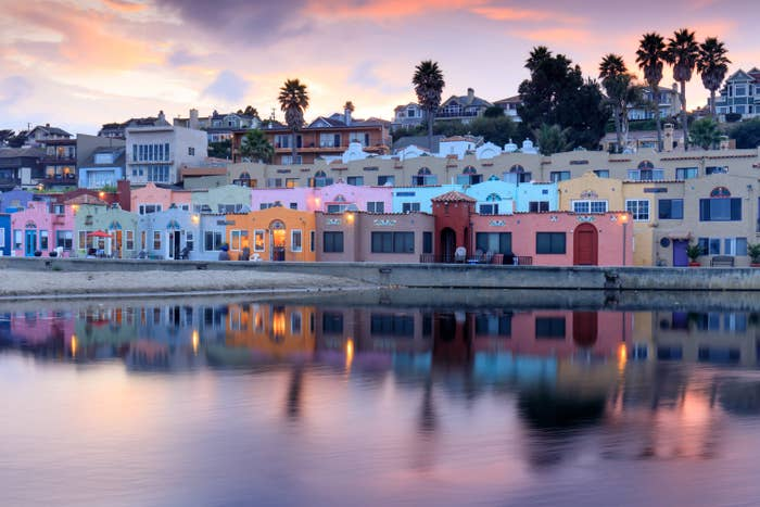 Colorful houses lining the shore at Capitola
