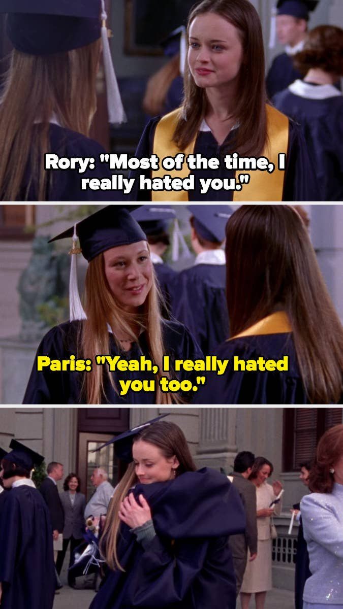 Rory and Paris hug at high school graduation and admit they hated each other most of the time