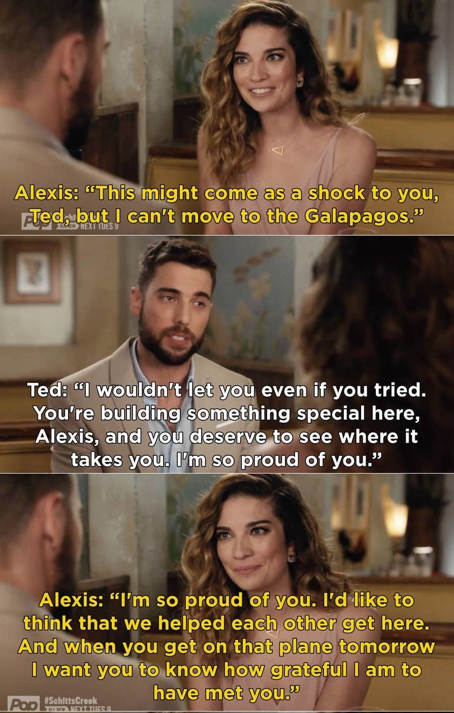 """Alexis tells Ted she can't go to the Galapagos with him but she's so proud of him and thankful to have met him, """"I'd like to think that we helped each other get here"""""""