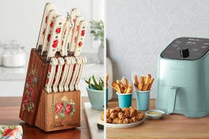knives in a knife block; a sage-green air fryer