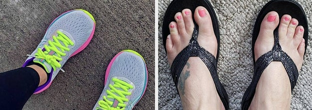 a pair of neon-laced running shoes; a pair of black leather thong sandals
