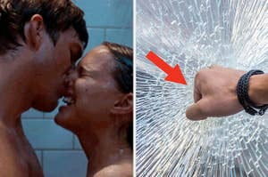 Shower sex and someone breaking glass with their fist