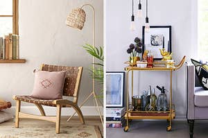 woven accent chair, a gold bar cart
