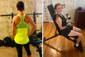 on left, reviewer wears ventilated yellow top. on right, reviewer uses adjustable weight bench
