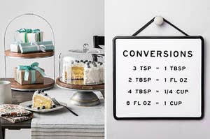 A table covered in cakes and cake stands on the left and a measurement conversions sign on the right