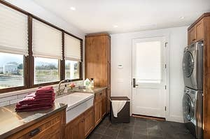 Multiple kitchen windows with the pleated shades