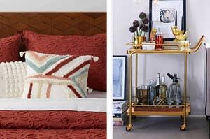 textured throw pillow and gold bar cart