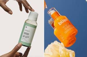 hands holding a bottle of serum; an orange bottle of serum