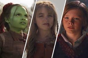 Young Gamora, Carol Danvers, and Thor