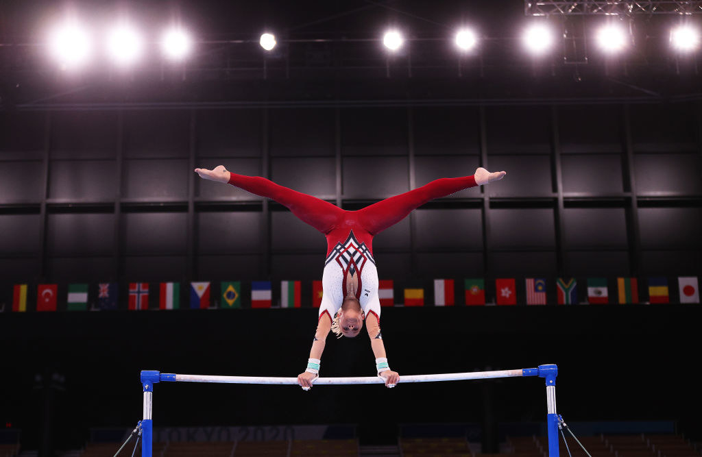 Elisabeth Seitz of Team Germany competes on uneven bars at the Tokyo Olympics