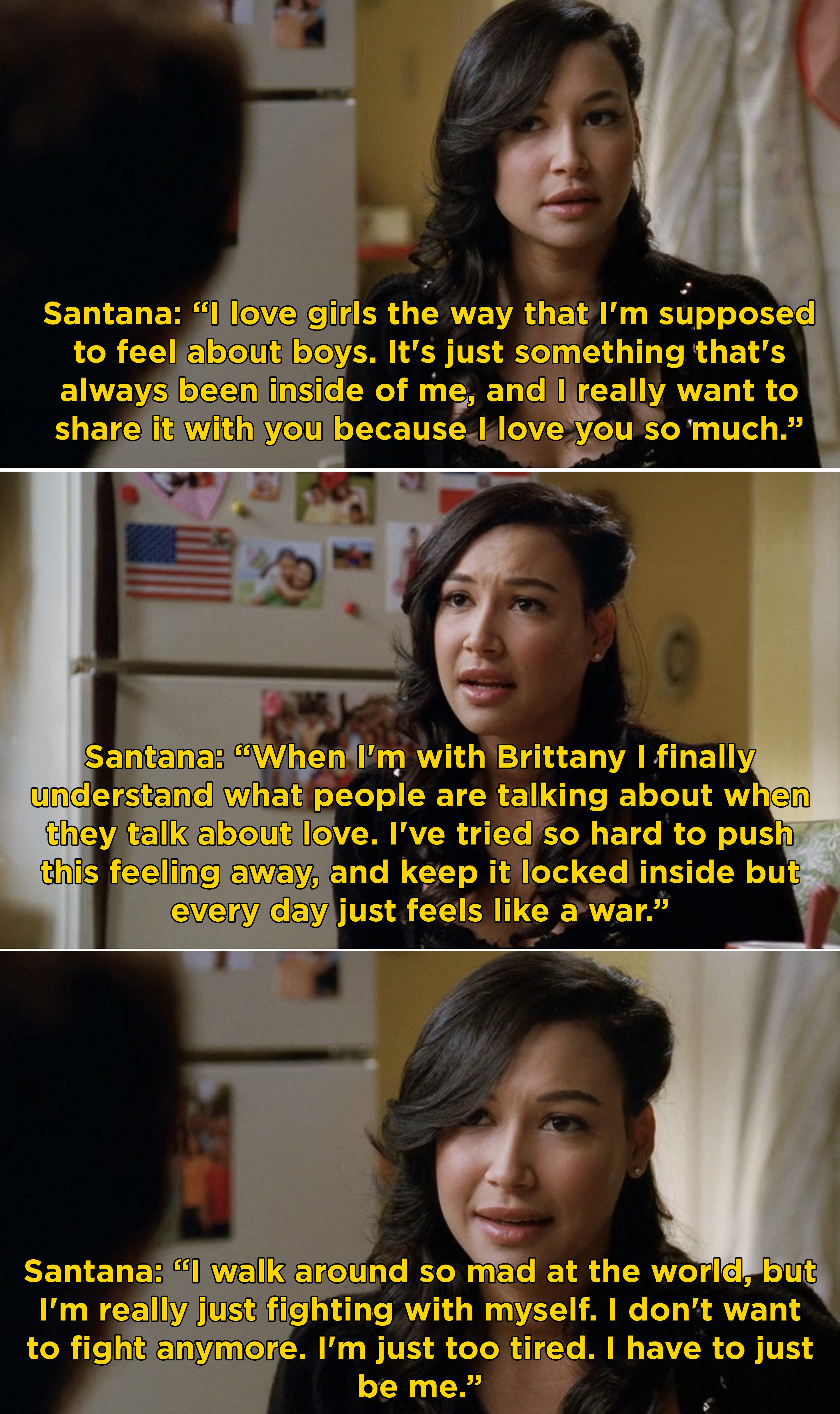 """Santana comes out to her grandmother and says she walks around so mad at the world but she doesn't want to fight anymore she just wants to be herself: """"I love girls the way I'm supposed to love boys"""""""