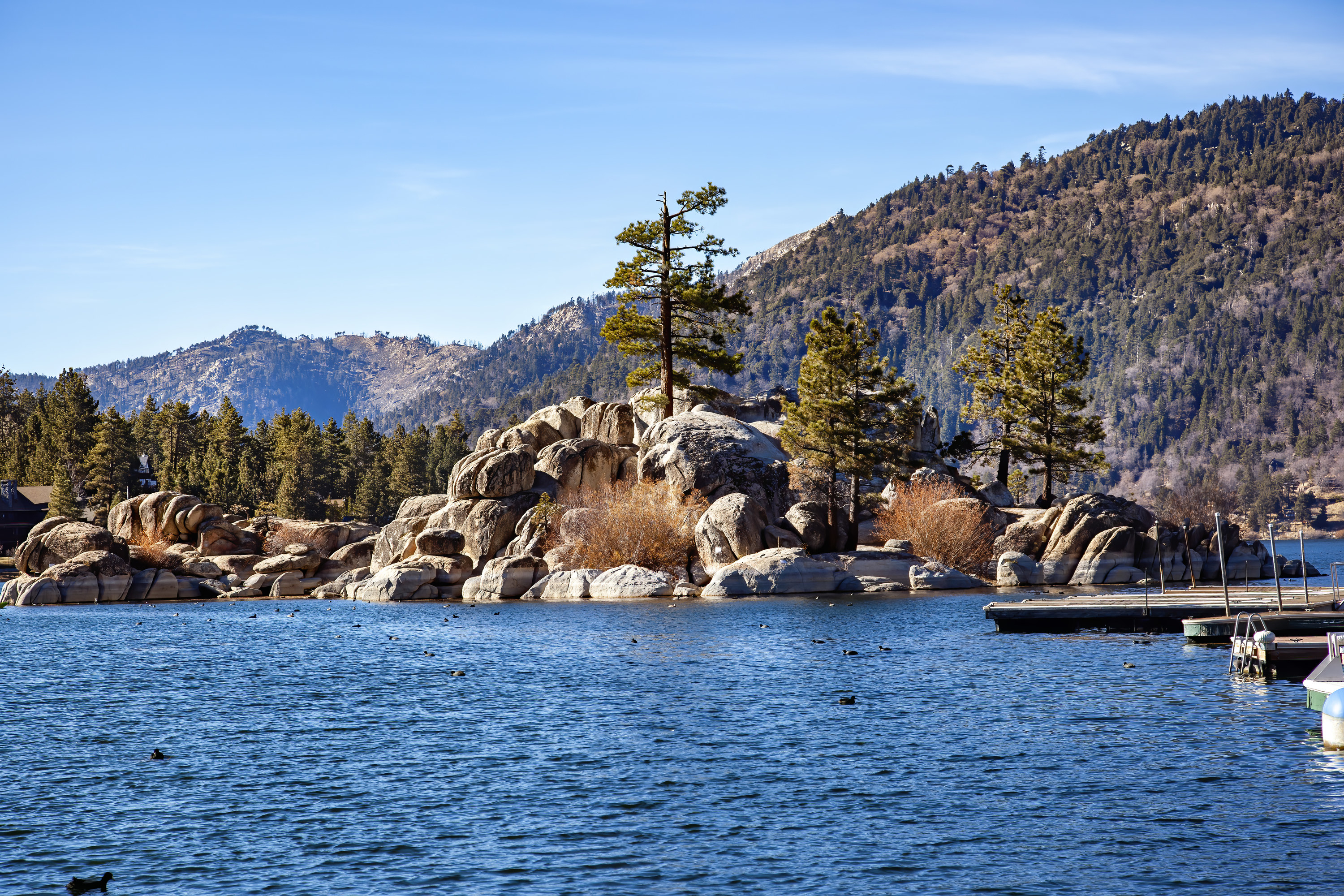 View of mountains and rock formations along Big Bear Lake