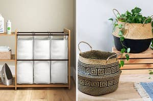 A bamboo laundry sorter on the left and a pair of rattan belly baskets on the right