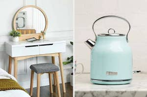 A white makeup vanity on the left and a light blue electric kettle on the right