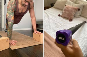 The yoga blocks and weighted exercise bar