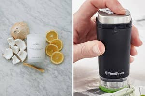 The scented candle and handheld food vacuum sealer