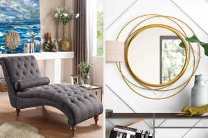 gray lounge and gold mirror