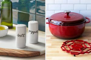 ceramic salt and pepper shakers; a red cast iron pot
