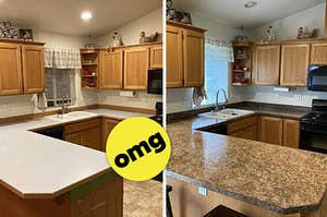 Plain kitchen countertops on the left; kitchen countertops painted with a realistic granite-look painting kit on the right