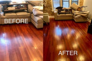 Reviewer's photo of their floors before and after floor restorer