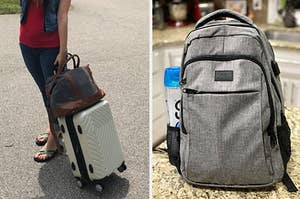 A person wheeling a white hardside suitcase on the left and a gray travel backpack on the right