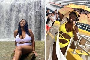 reviewer wearing white bikini and reviewer wearing yellow strappy bikini