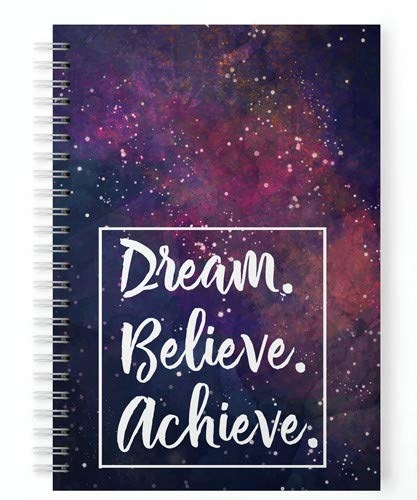 Galaxy print spiral planner with the words 'Dream. Believe. Achieve' printed on it in white