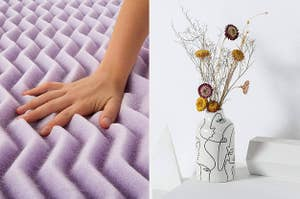 to the left: a purple mattress topper, to the right: a white vase with the outline of abstract faces on it