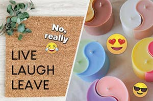 """left side shows a doormat that says """"live laugh leave"""" and the right side is colorful ying yang candles"""