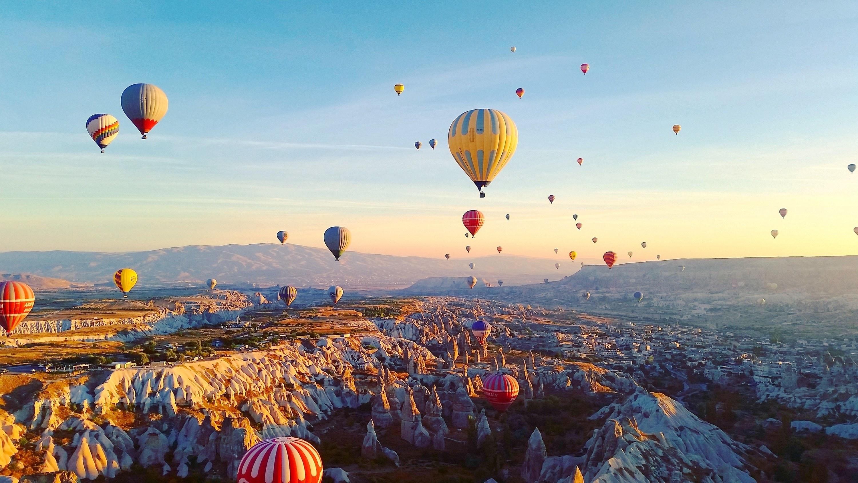Floating in a hot air balloon in Cappadocia, Turkey.