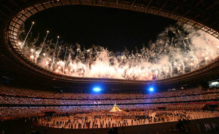 Fireworks during the Tokyo 2020 opening ceremony