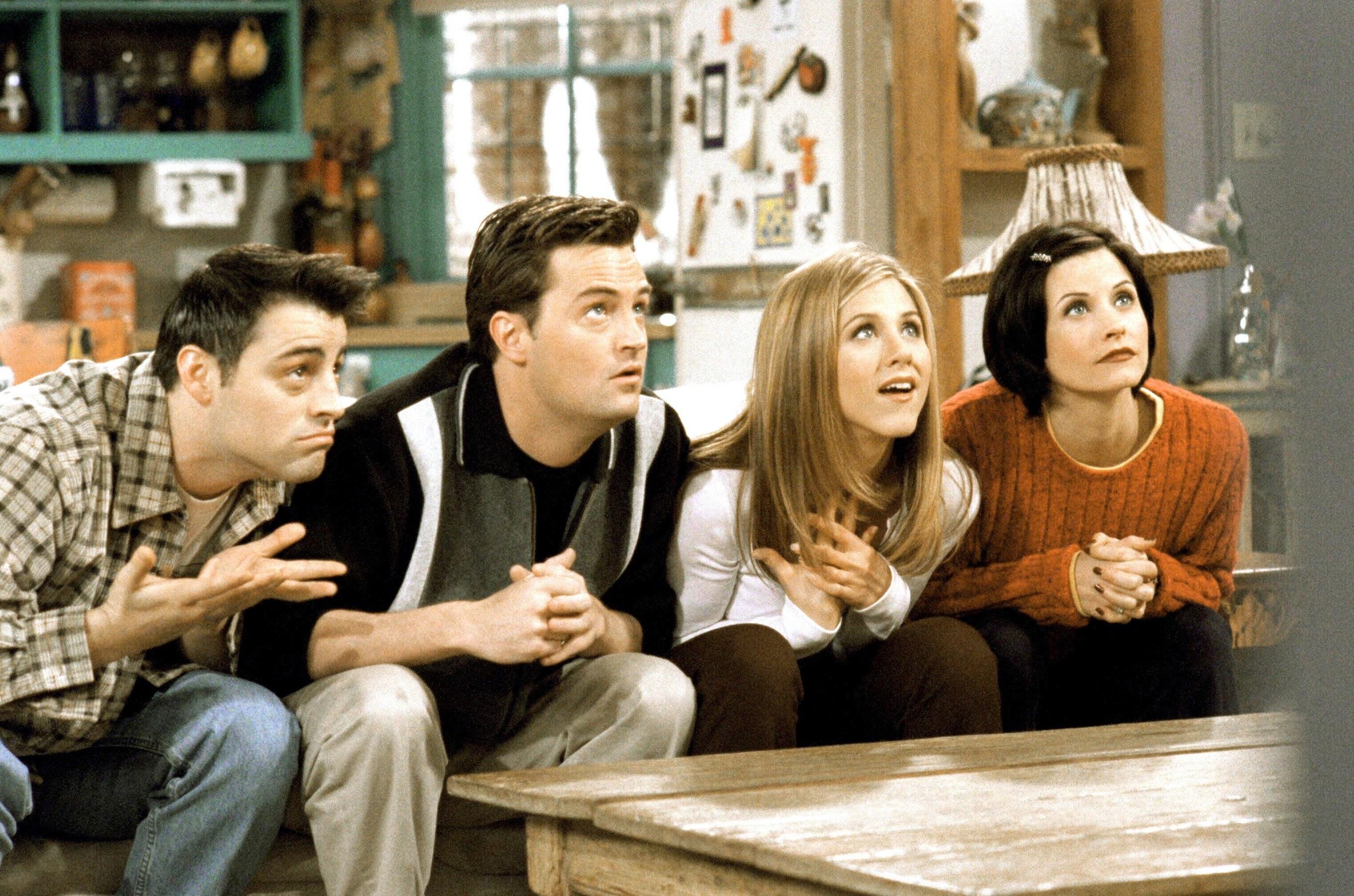 """Matt LeBlanc, Matthew Perry, Jennifer Aniston, and Courtney Cox on """"Friends"""""""
