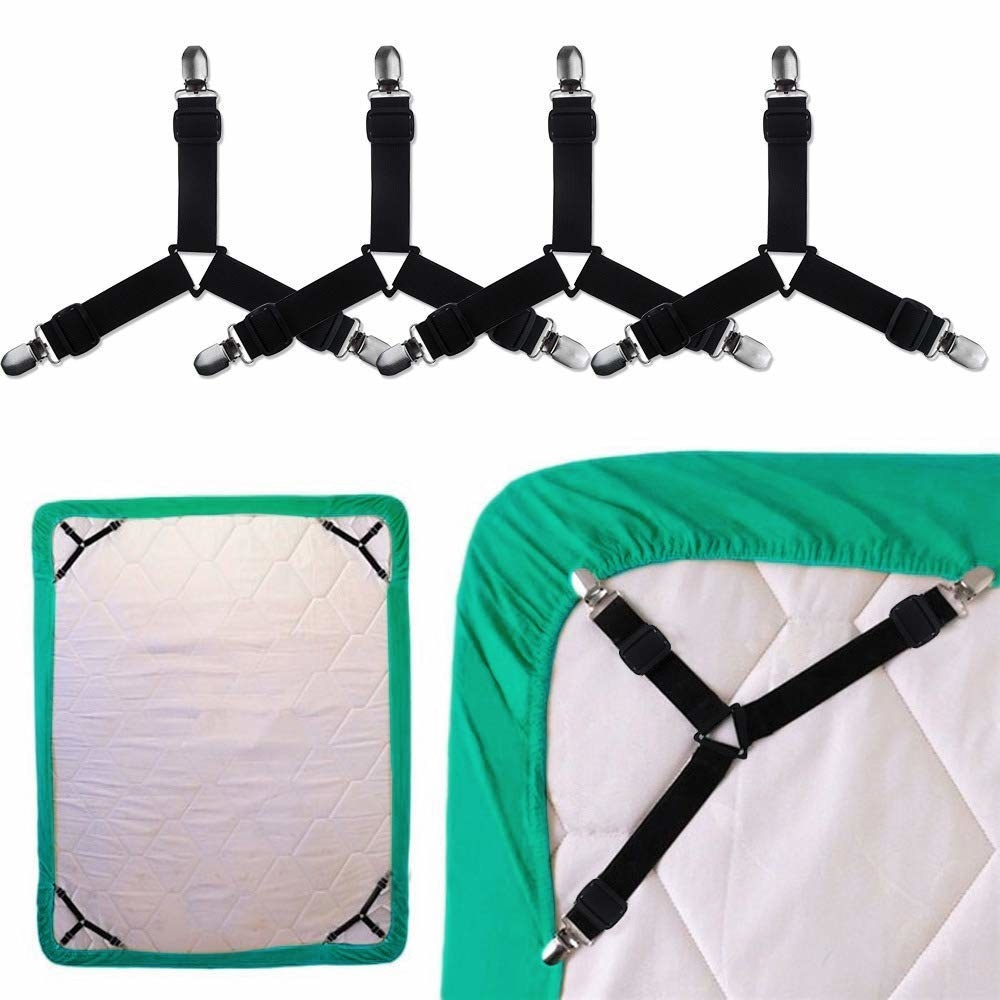 4 bed sheet suspenders holding bed sheet