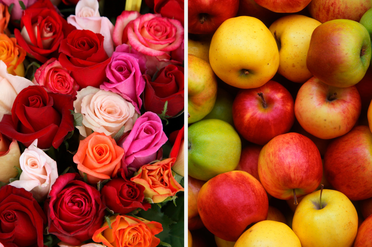 Roses, next to apples